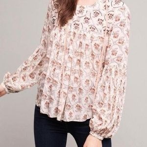 Anthropologie Floreat Sala Beaded Peasant Blouse